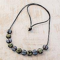 Batik ceramic beaded necklace, 'Bicolor Combination' - Batik Ceramic Beaded Necklace Handcrafted in Honduras