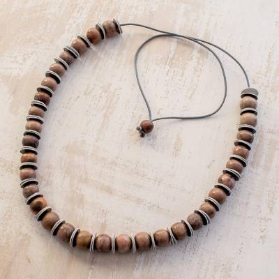 Ceramic beaded necklace, 'Slices of Desert' - Handcrafted Rosewood Tone Ceramic Bead Pendant Necklace