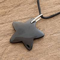 Jade pendant necklace, 'Dark Night Star' - Handcrafted Black Jade Star on Cotton Cord Pendant Necklace