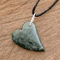 Jade pendant necklace, 'Love Floats' - Handcrafted Green Jade Heart on Cotton Cord Pendant Necklace