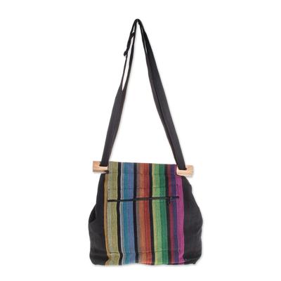Colorful Striped Cotton Tote Handbag from El Salvador