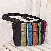 Cotton tote bag, 'Island Traveler' - Colorful Vertical Stripes on Black Handwoven Cotton Tote Bag