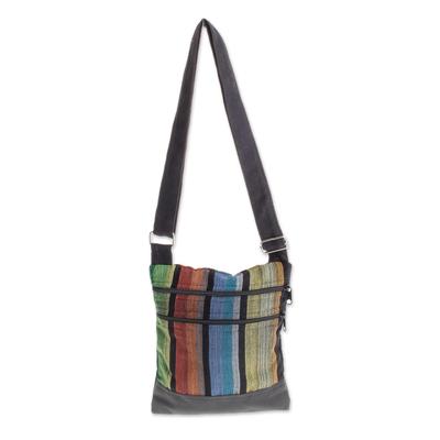 Colorful Vertical Stripes on Black Cotton Shoulder Bag