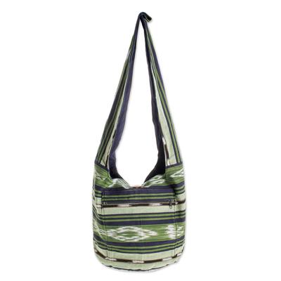 green handwoven bucket bag
