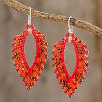 Glass beaded dangle earrings, 'Burning Leaves' - Glass Beaded Dangle Earrings in Orange from El Salvador