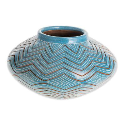 Ceramic decorative vase, 'Blue Zigzag' - Artisan Crafted Blue Ceramic Decorative Vase from Nicaragua
