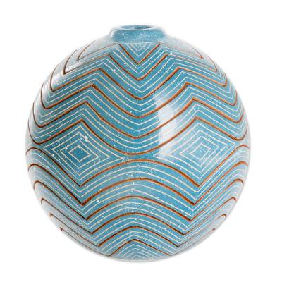 Ceramic decorative vase, 'Harmonic Geometry' - Blue Ceramic Decorative Vase with Zigzag Patterns