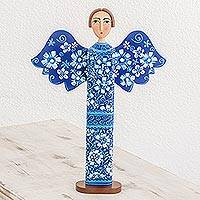 Wood statuette, 'Love and Guidance in Blue' - Hand Carved and Painted Blue Floral Angel Wood Statuette