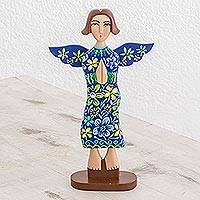Wood statuette, 'Prayer of Love in Blue' - Hand Carved and Painted Blue Praying Angel Wood Statuette