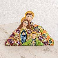 Wood statuette, 'Family of Love' - Colorful Floral Handcrafted Wood Nativity Scene Statuette
