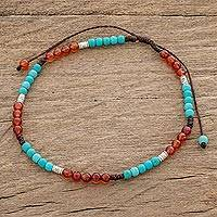 Agate beaded anklet, 'Magic Color' - Agate and Recon. Turquoise Beaded Anklet from Guatemala
