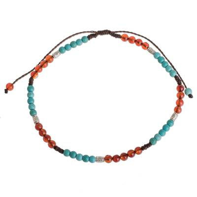Agate and Recon. Turquoise Beaded Anklet from Guatemala