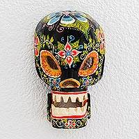 Wood mask, 'Day of the Dead Celebration' - Floral Wood Skull Mask in Black from Guatemala