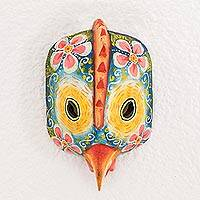 Wood mask, 'Floral Baby Rooster' - Floral Baby Rooster Wood Wall Mask from Guatemala
