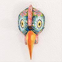 Wood mask, 'Pretty Rooster' - Hand-Painted Wood Rooster Mask from Guatemala