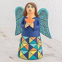 Ceramic statuette, 'Star Angel' - Ceramic Statuette of an Angel with a Star from Nicaragua