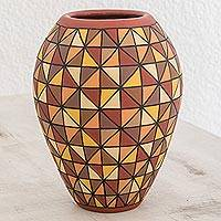 Ceramic decorative vase, 'Magical Elegance' - Hand-Painted Earth-Tone Ceramic Decorative Vase