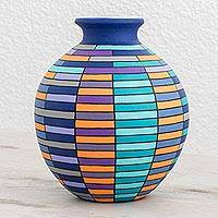 Ceramic decorative vase, 'Color and Harmony' - Hand-Painted Rectangle Motif Ceramic Decorative Vase
