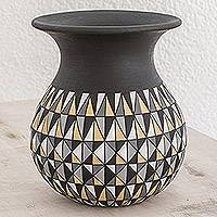 Ceramic decorative vase, 'Geometry Night' - Hand-Painted Geometric Ceramic Decorative Vase in Black