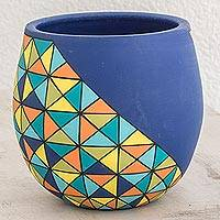 Ceramic decorative vase, 'Cool Geometry' - Geometric Ceramic Decorative Vase in Blue from Nicaragua