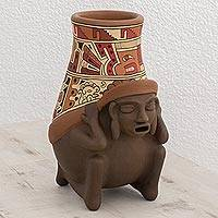 Ceramic decorative vase, 'Vibrant Pre-Hispanic' - Handcrafted Pre-Hispanic Ceramic Decorative Vase