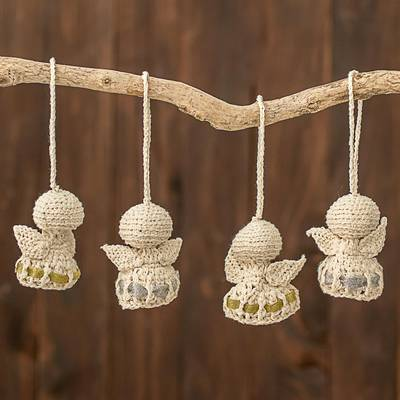 Hand Crocheted Cotton Angel Ornaments In Eggshell Set Of 4