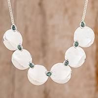 Jade pendant necklace, 'Six Mirrors' - Circle Pattern Jade Pendant Necklace from Guatemala