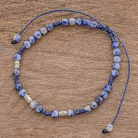 Sodalite beaded anklet, 'Enticing Blue' - Adjustable Sodalite Beaded Anklet from Guatemala
