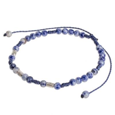 Adjustable Sodalite Beaded Anklet from Guatemala