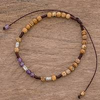 Jasper and amethyst beaded anklet, 'Magic Earth' - Jasper and Amethyst Beaded Anklet from Guatemala