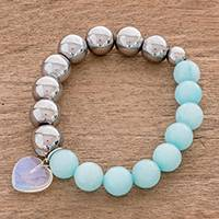 Aquamarine and moonstone beaded stretch bracelet, 'Oceanic Heart' - Aquamarine and Moonstone Heart Beaded Stretch Bracelet
