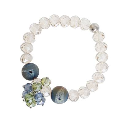 Drusy Agate Beaded Stretch Pendant Bracelet from Costa Rica