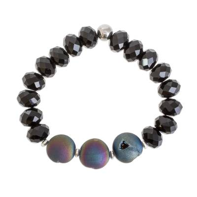 Drusy Agate and Black Crystal Beaded Stretch Bracelet