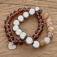 Agate and crystal beaded stretch bracelets, 'Earthy Duo' (pair) - Agate and Crystal Beaded Stretch Bracelets (Pair)
