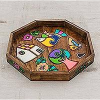 Wood decorative tray, 'Village of Harmony' - Hand-Painted Octagonal Wood Decorative Tray from El Salvador