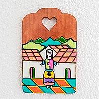 Wood wall art, 'Beauty and Strength' - Hand-Painted Wood Wall Art from El Salvador