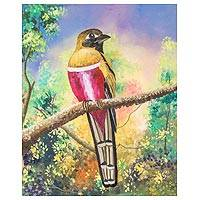 'Natural Enchantment' - Signed Painting of a Red-Breasted Bird from Guatemala