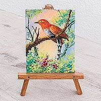 Miniature painting with easel, 'Sweet Song' - Realist Painting of an Orange Bird with Easel from Guatemala