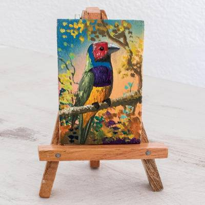 Miniature painting with easel, 'Natural Enchantment' - Miniature Painting of a Colorful Bird from Guatemala