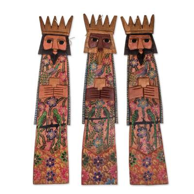 Wood wall sculptures, 'Three Kings of Orient' (set of 3) - Hand-Carved Wood Three Wise Kings Wall Sculptures (Set of 3)