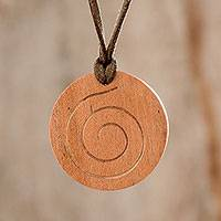 Wood pendant necklace, 'Brown Spiral' - Spiral Pattern Adjustable Wood Pendant Necklace