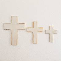 Wood wall crosses, 'Symbol of Love in White' (set of 3) - Wood Wall Crosses in White from Guatemala (Set of 3)