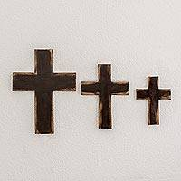 Wood wall crosses, 'Symbol of Love in Brown' (set of 3)