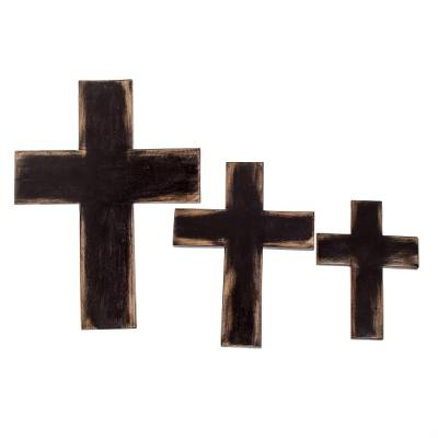 Wood wall crosses, 'Symbol of Love in Brown' (set of 3) - Wood Wall Crosses in Brown from Guatemala (Set of 3)