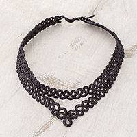 Hand-tatted necklace, 'Tracing History in Black' - Hand-Tatted Necklace in Black from Guatemala