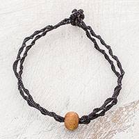 Wood pendant bracelet, 'Elegant Black Stairs' - Wood Macrame Pendant Bracelet in Black from Guatemala