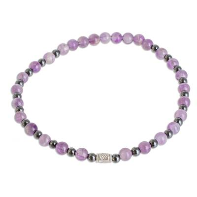 Amethyst Beaded Stretch Bracelet from Mexico
