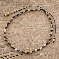 Men's jasper beaded anklet, 'Earth Eye' - Men's Adjustable Jasper Beaded Anklet from Guatemala