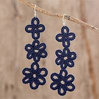 Hand-tatted dangle earrings, 'Petal Delight in Indigo' - Artisan Hand-Tatted Dangle Earrings in Indigo from Guatemala
