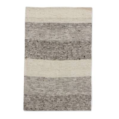 Wool blend area rug, 'Mountain Stripes' (2x3) - Ivory and Brown Broad Striped Wool Blend Area Rug (2x3)